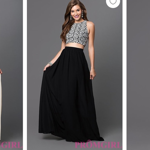 offer discounts retro top fashion Black Two Piece Prom Dress WORN ONCE